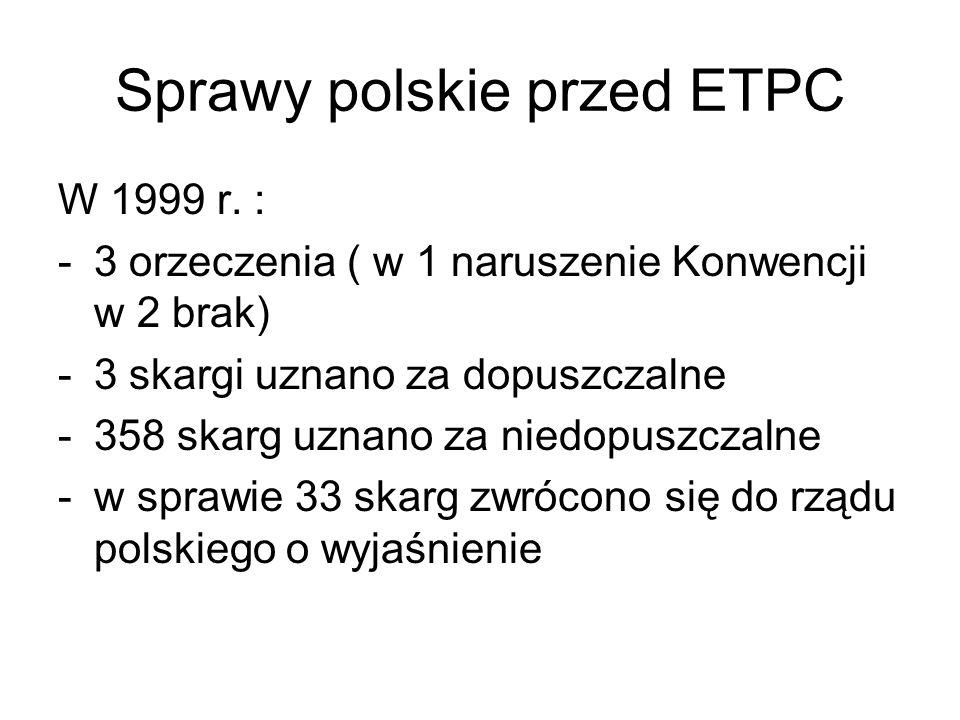 Sprawy polskie przed ETPC W 1999 r. : -3 orzeczenia ( w 1 naruszenie Konwencji w 2 brak) -3 skargi uznano za dopuszczalne -358 skarg uznano za niedopu