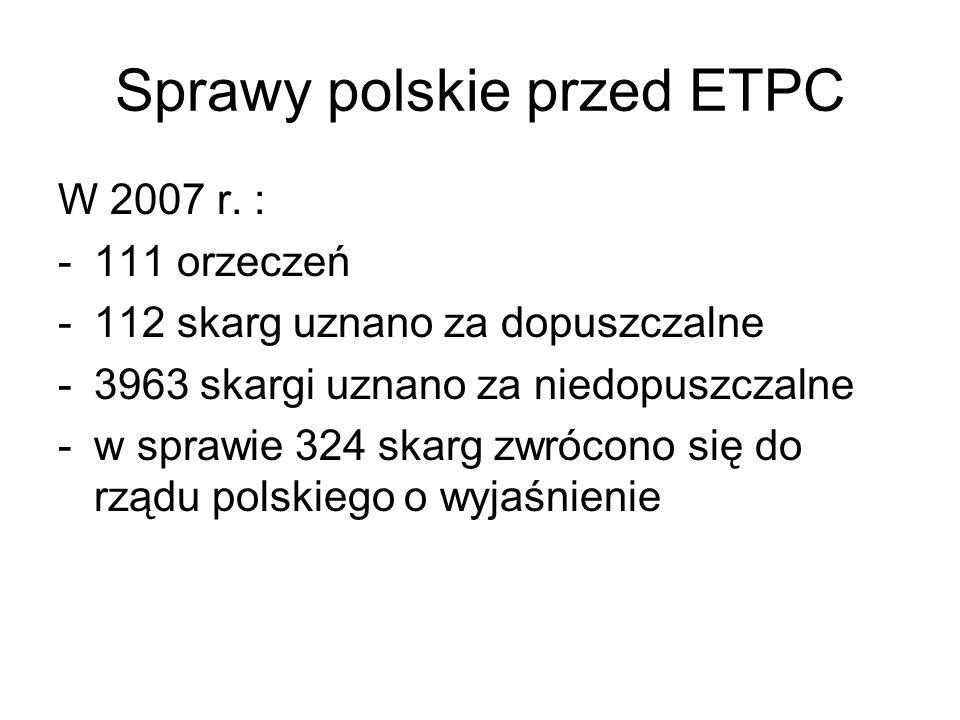 Sprawy polskie przed ETPC W 2007 r. : -111 orzeczeń -112 skarg uznano za dopuszczalne -3963 skargi uznano za niedopuszczalne -w sprawie 324 skarg zwró