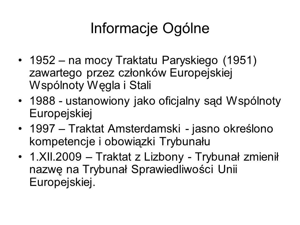 Informacje Ogólne 1952 – na mocy Traktatu Paryskiego (1951) zawartego przez członków Europejskiej Wspólnoty Węgla i Stali 1988 - ustanowiony jako ofic