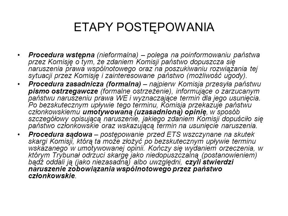 ETAPY POSTĘPOWANIA Procedura wstępna (nieformalna) – polega na poinformowaniu państwa przez Komisję o tym, że zdaniem Komisji państwo dopuszcza się na