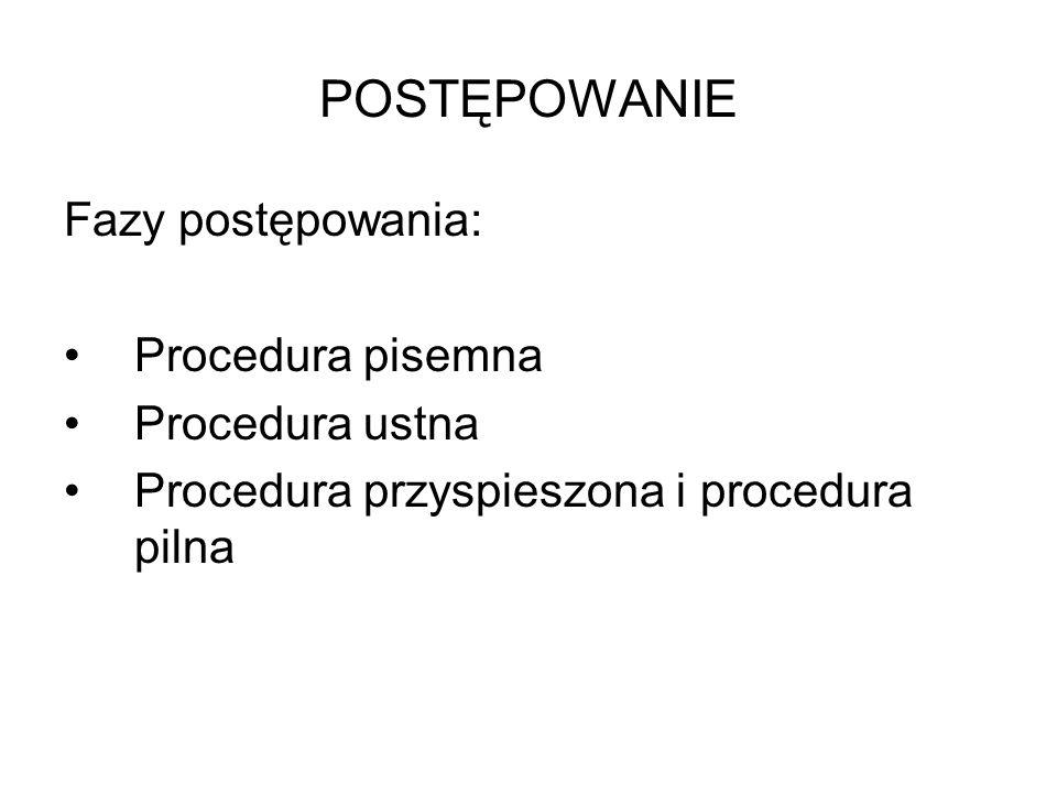 POSTĘPOWANIE Fazy postępowania: Procedura pisemna Procedura ustna Procedura przyspieszona i procedura pilna