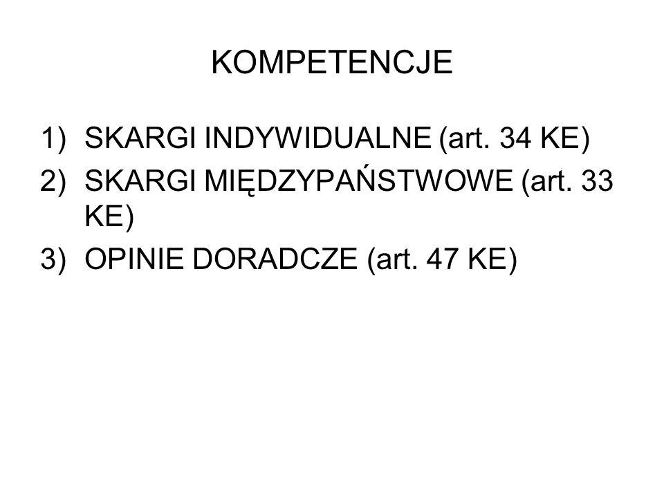 KOMPETENCJE 1)SKARGI INDYWIDUALNE (art. 34 KE) 2)SKARGI MIĘDZYPAŃSTWOWE (art. 33 KE) 3)OPINIE DORADCZE (art. 47 KE)