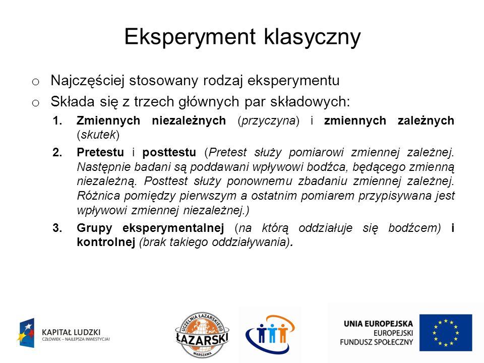 Eksperyment klasyczny o Najczęściej stosowany rodzaj eksperymentu o Składa się z trzech głównych par składowych: 1.Zmiennych niezależnych (przyczyna)