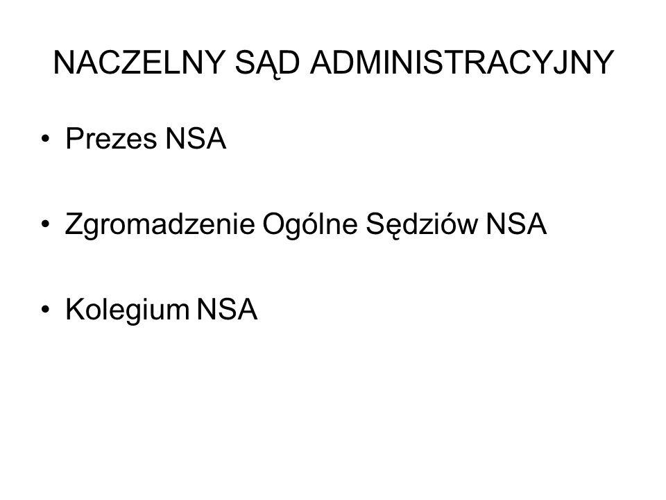 NACZELNY SĄD ADMINISTRACYJNY Prezes NSA Zgromadzenie Ogólne Sędziów NSA Kolegium NSA