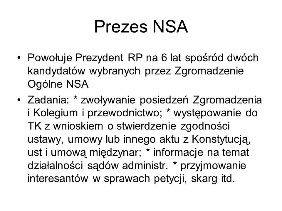 Prezes NSA Powołuje Prezydent RP na 6 lat spośród dwóch kandydatów wybranych przez Zgromadzenie Ogólne NSA Zadania: * zwoływanie posiedzeń Zgromadzeni