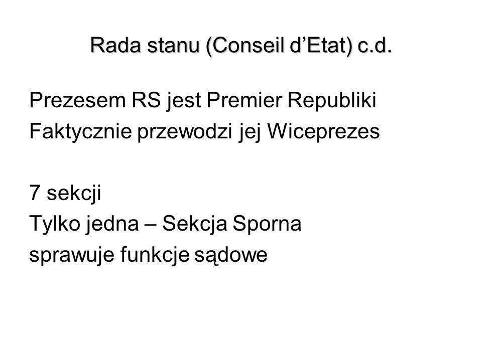 Rada stanu (Conseil dEtat) c.d. Prezesem RS jest Premier Republiki Faktycznie przewodzi jej Wiceprezes 7 sekcji Tylko jedna – Sekcja Sporna sprawuje f