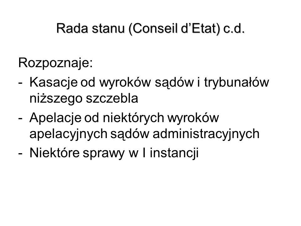 Rada stanu (Conseil dEtat) c.d. Rozpoznaje: -Kasacje od wyroków sądów i trybunałów niższego szczebla -Apelacje od niektórych wyroków apelacyjnych sądó
