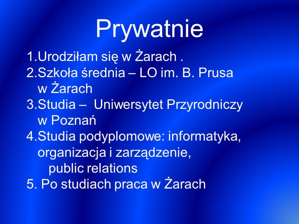 Prywatnie 1.Urodziłam się w Żarach. 2.Szkoła średnia – LO im. B. Prusa w Żarach 3.Studia – Uniwersytet Przyrodniczy w Poznań 4.Studia podyplomowe: inf
