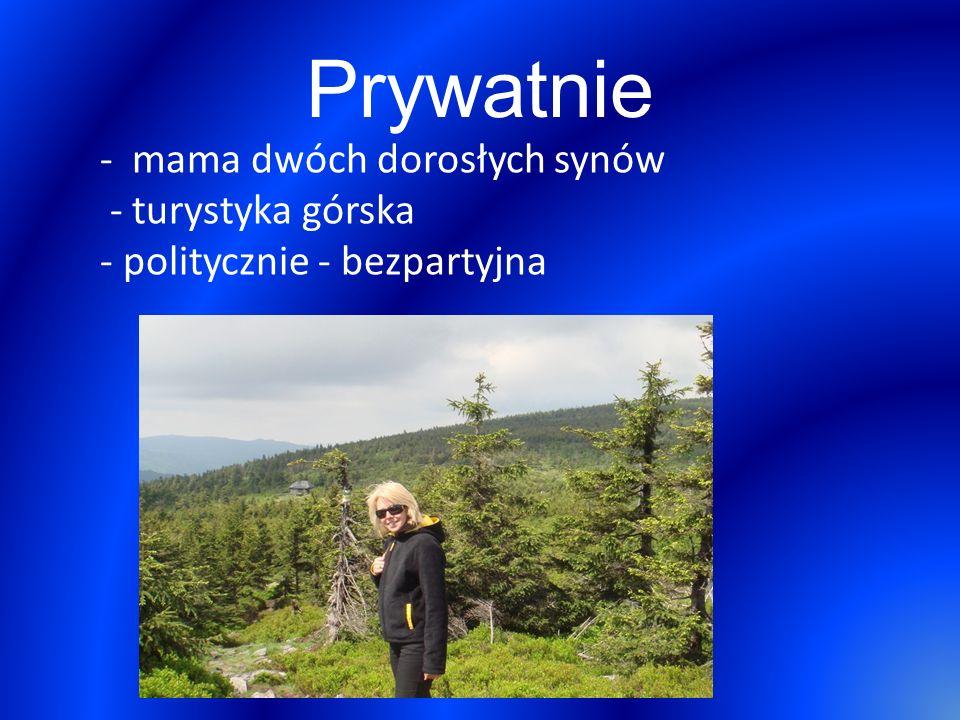 Prywatnie - mama dwóch dorosłych synów - turystyka górska - politycznie - bezpartyjna