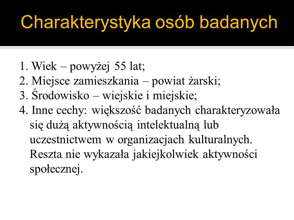 1. Wiek – powyżej 55 lat; 2. Miejsce zamieszkania – powiat żarski; 3.