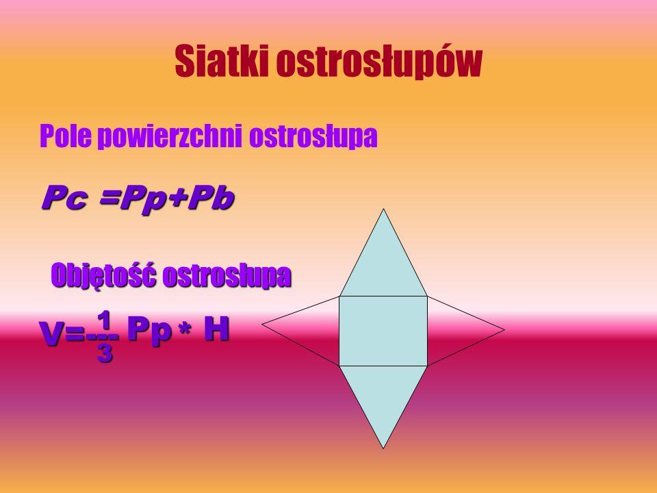 Siatki ostrosłupów Pole powierzchni ostrosłupa Pc =Pp+Pb Objętość ostrosłupa V=--- 3 1Pp * H