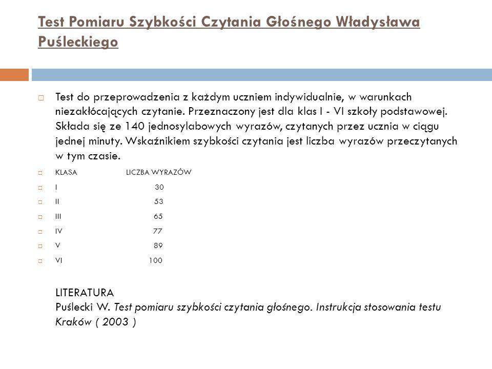 Test Pomiaru Szybkości Czytania Głośnego Władysława Puśleckiego Test do przeprowadzenia z każdym uczniem indywidualnie, w warunkach niezakłócających czytanie.