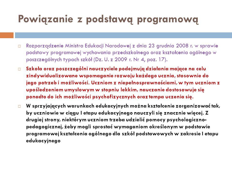 Powiązanie z podstawą programową Rozporządzenie Ministra Edukacji Narodowej z dnia 23 grudnia 2008 r. w sprawie podstawy programowej wychowania przeds