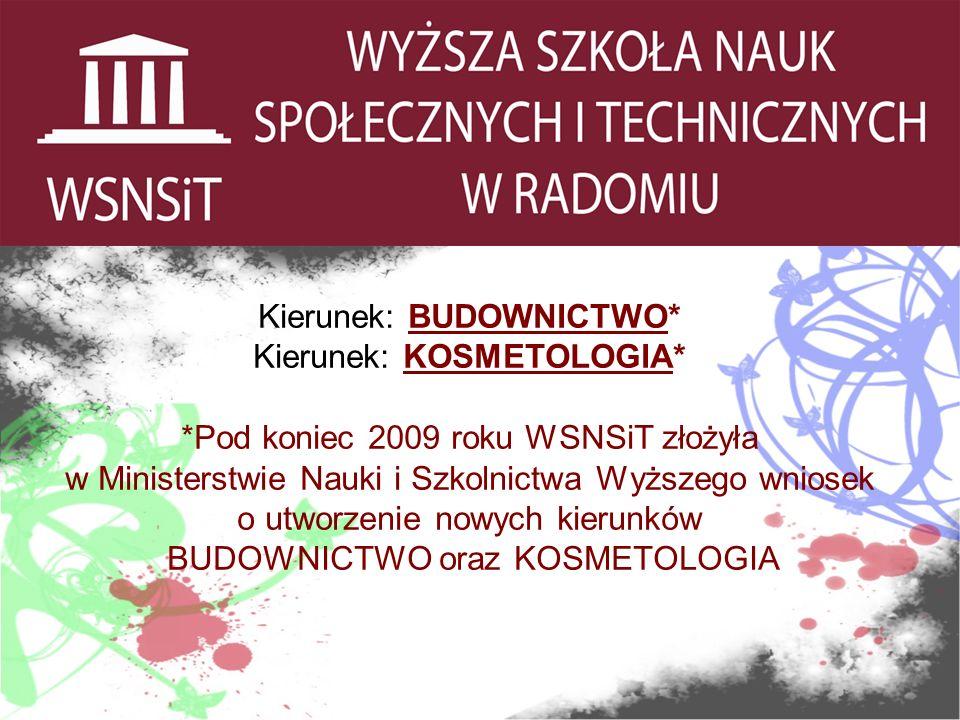 . Kierunek: BUDOWNICTWO* Kierunek: KOSMETOLOGIA* *Pod koniec 2009 roku WSNSiT złożyła w Ministerstwie Nauki i Szkolnictwa Wyższego wniosek o utworzenie nowych kierunków BUDOWNICTWO oraz KOSMETOLOGIA
