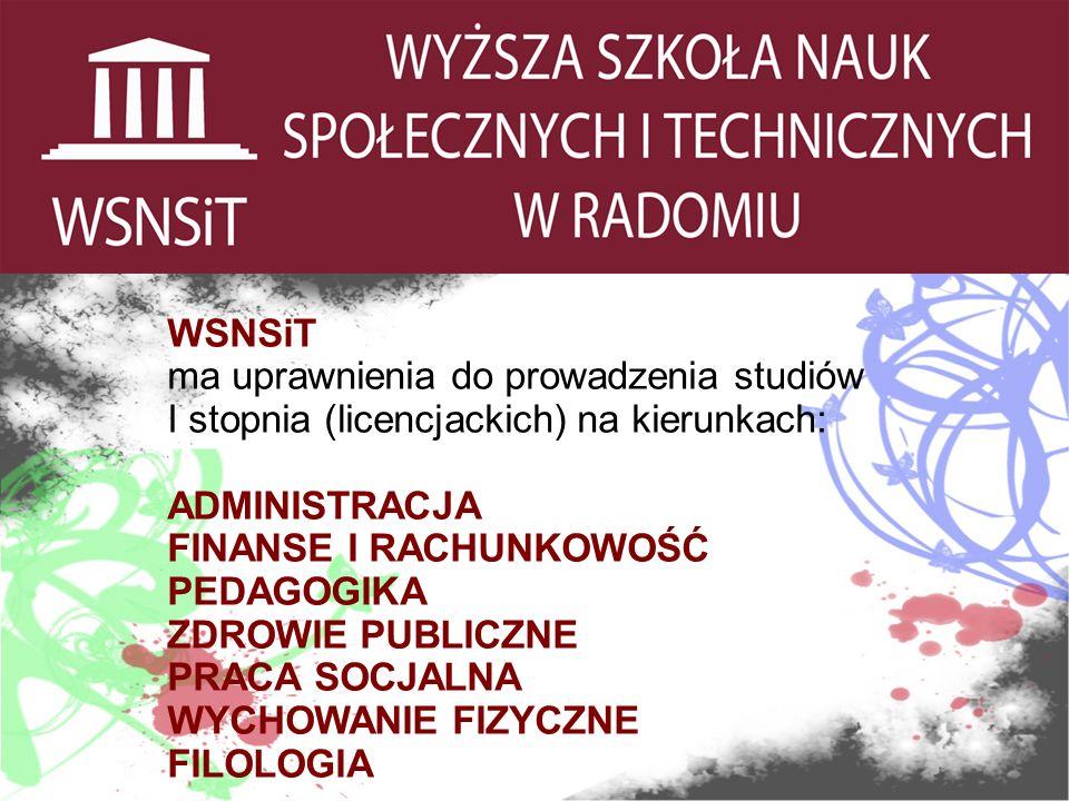 Kierunek: ADMINISTRACJA Specjalności: Administracja finansowa i podatkowa Administracja samorządowa Administracja bezpieczeństwa publicznego