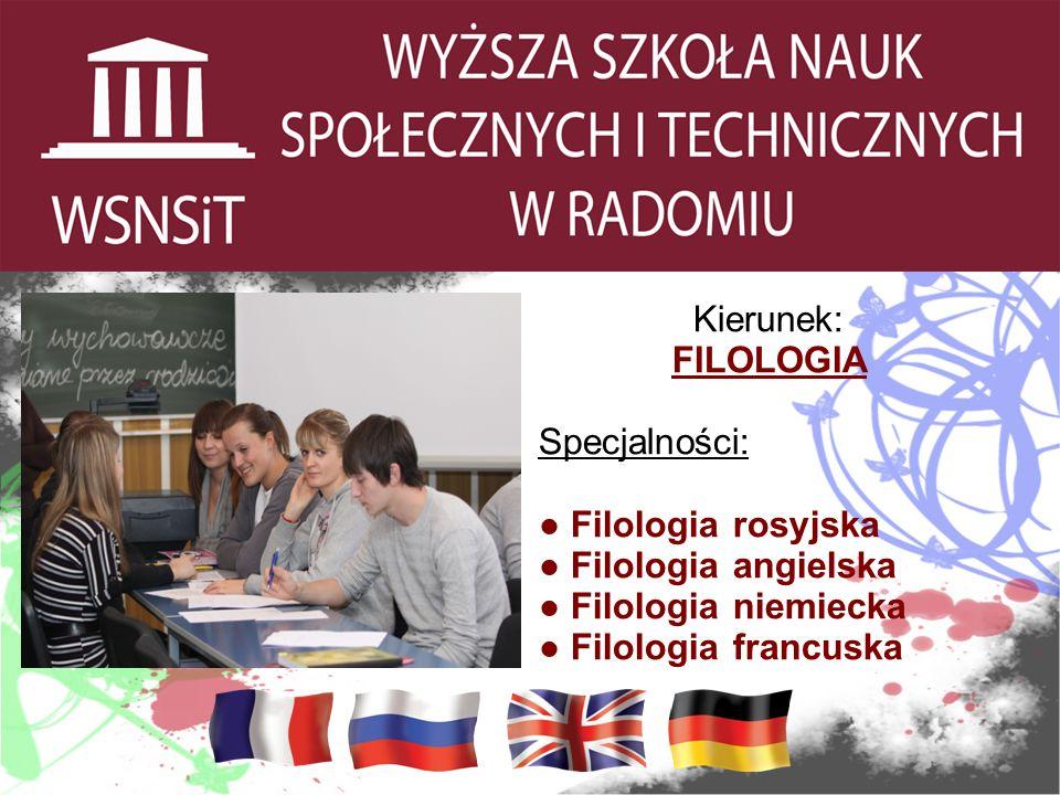 Kierunek: FILOLOGIA Specjalności: Filologia rosyjska Filologia angielska Filologia niemiecka Filologia francuska