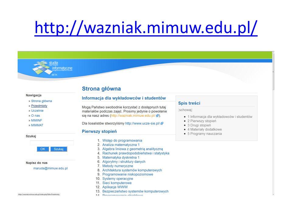http://wazniak.mimuw.edu.pl/