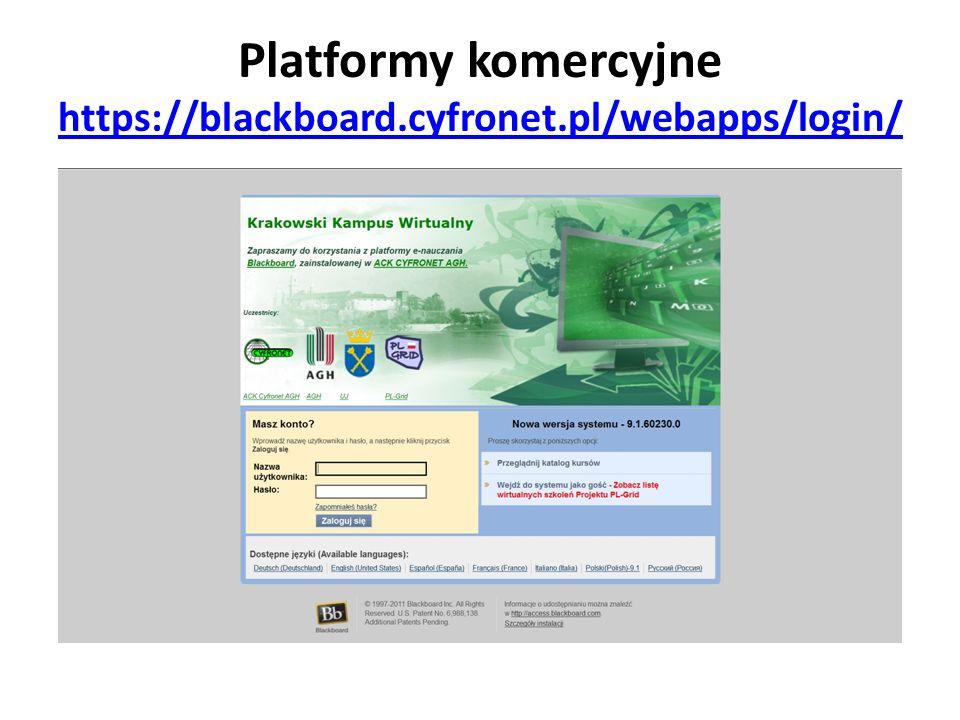 Platformy komercyjne https://blackboard.cyfronet.pl/webapps/login/ https://blackboard.cyfronet.pl/webapps/login/