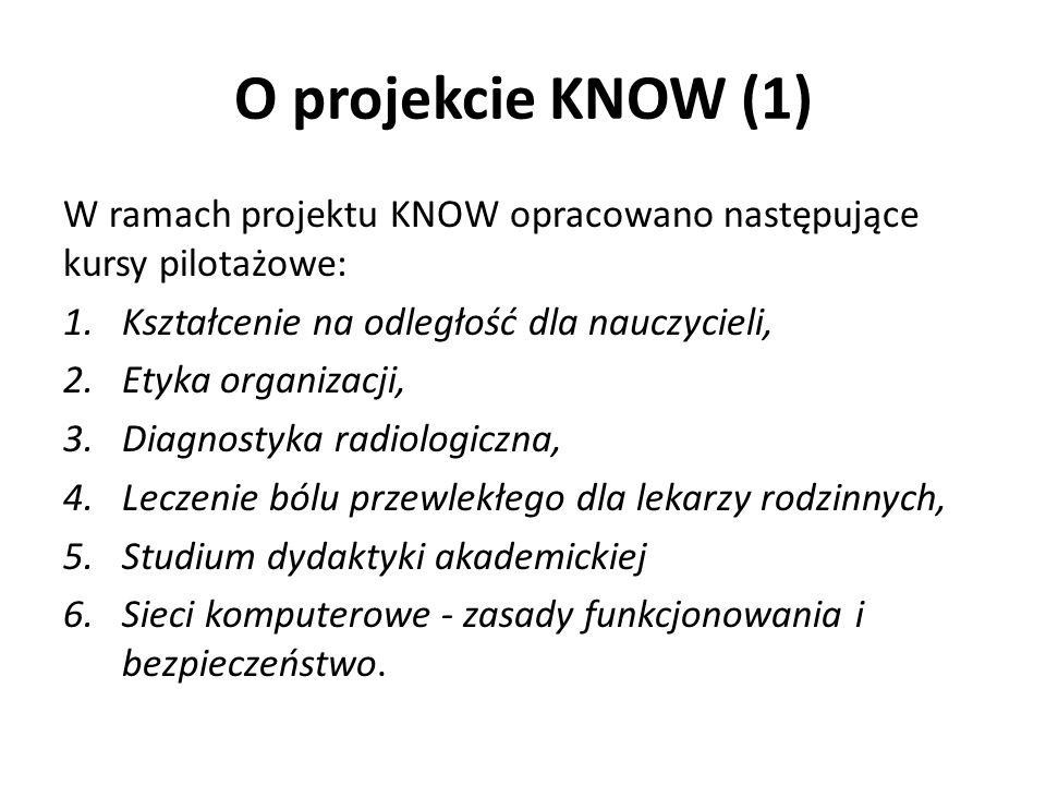 O projekcie KNOW (1) W ramach projektu KNOW opracowano następujące kursy pilotażowe: 1.Kształcenie na odległość dla nauczycieli, 2.Etyka organizacji, 3.Diagnostyka radiologiczna, 4.Leczenie bólu przewlekłego dla lekarzy rodzinnych, 5.Studium dydaktyki akademickiej 6.Sieci komputerowe - zasady funkcjonowania i bezpieczeństwo.