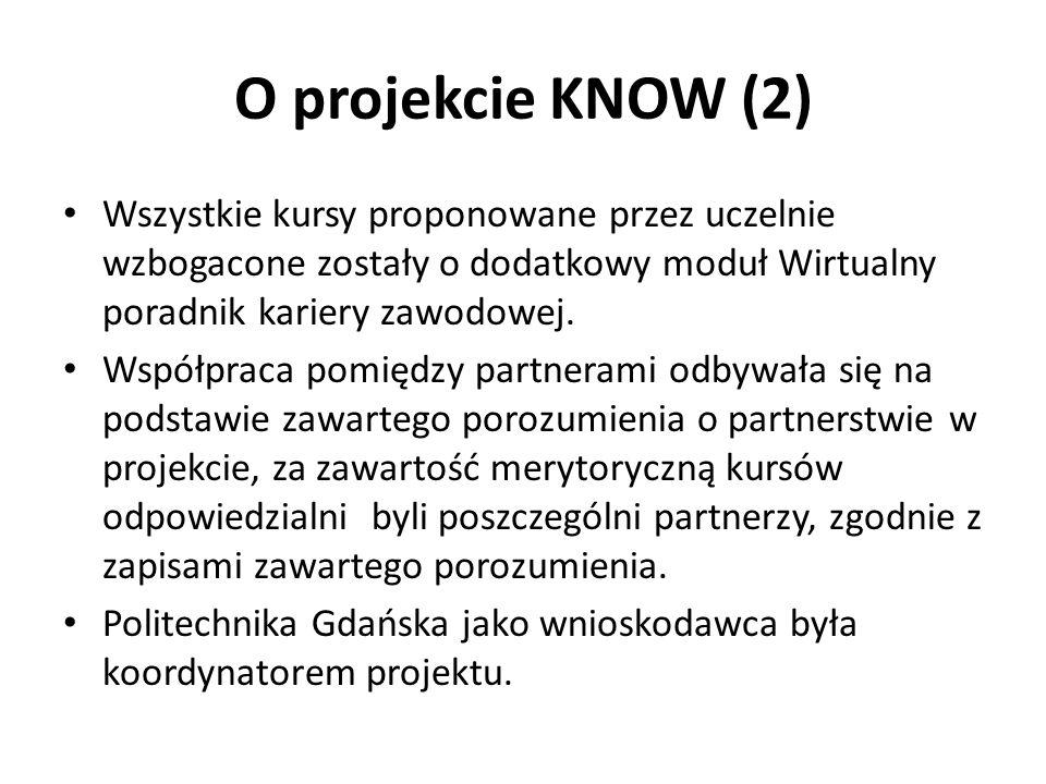 O projekcie KNOW (2) Wszystkie kursy proponowane przez uczelnie wzbogacone zostały o dodatkowy moduł Wirtualny poradnik kariery zawodowej.