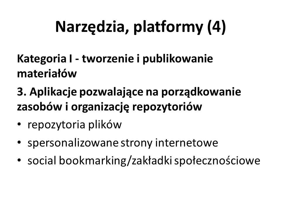 Narzędzia, platformy (4) Kategoria I - tworzenie i publikowanie materiałów 3.