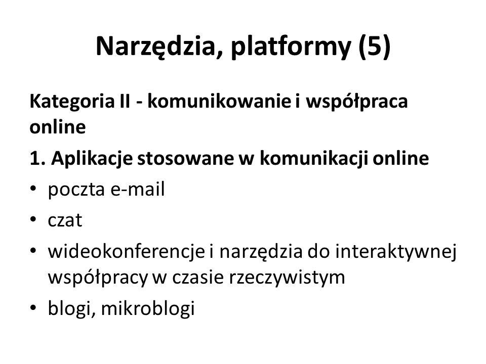 Narzędzia, platformy (5) Kategoria II - komunikowanie i współpraca online 1.