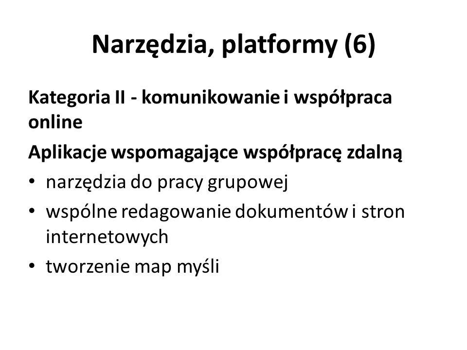 Narzędzia, platformy (6) Kategoria II - komunikowanie i współpraca online Aplikacje wspomagające współpracę zdalną narzędzia do pracy grupowej wspólne redagowanie dokumentów i stron internetowych tworzenie map myśli