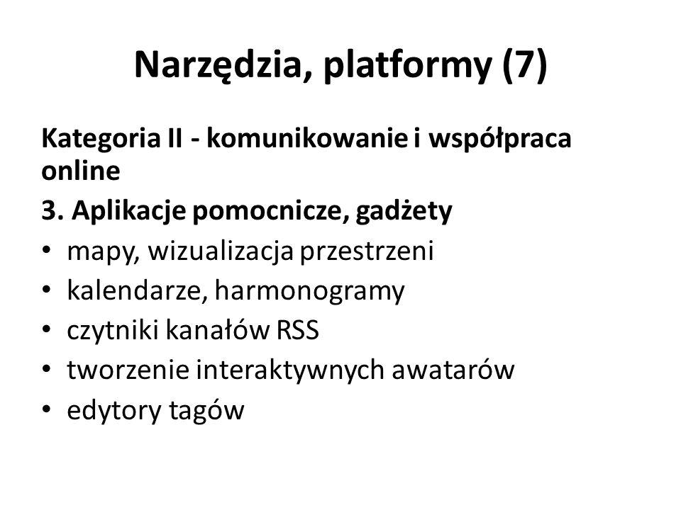 Narzędzia, platformy (7) Kategoria II - komunikowanie i współpraca online 3.