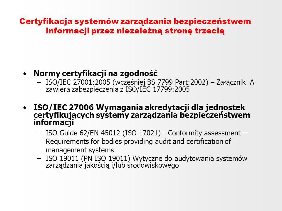 Certyfikacja systemów zarządzania bezpieczeństwem informacji przez niezależną stronę trzecią Normy certyfikacji na zgodność –ISO/IEC 27001:2005 (wcześ