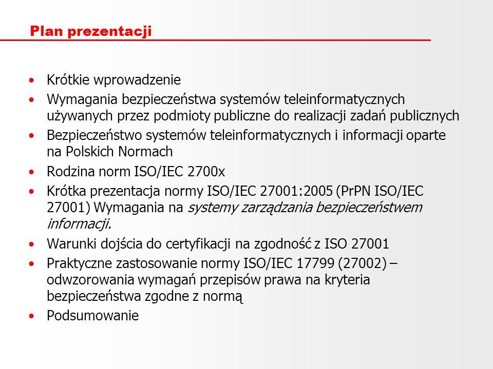 Plan prezentacji Krótkie wprowadzenie Wymagania bezpieczeństwa systemów teleinformatycznych używanych przez podmioty publiczne do realizacji zadań pub