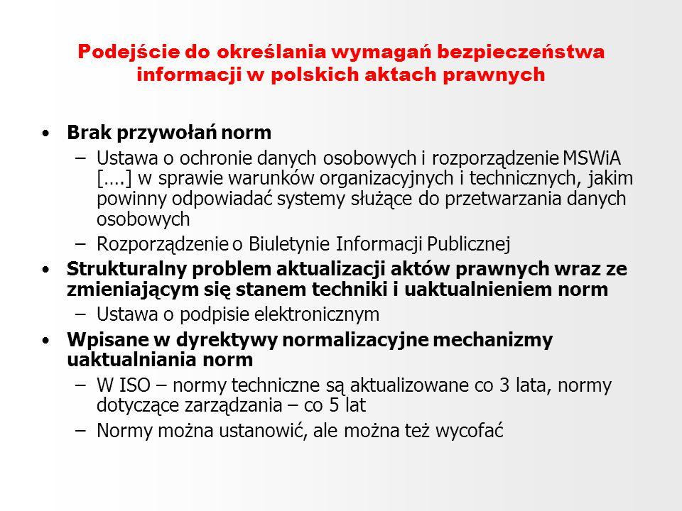 Podejście do określania wymagań bezpieczeństwa informacji w polskich aktach prawnych Brak przywołań norm –Ustawa o ochronie danych osobowych i rozporz