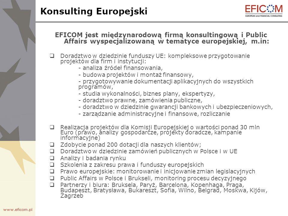 Konsulting Europejski EFICOM jest międzynarodową firmą konsultingową i Public Affairs wyspecjalizowaną w tematyce europejskiej, m.in: Doradztwo w dziedzinie funduszy UE: kompleksowe przygotowanie projektów dla firm i instytucji: - analiza źródeł finansowania, - budowa projektów i montaż finansowy, - przygotowywanie dokumentacji aplikacyjnych do wszystkich programów, - studia wykonalności, biznes plany, ekspertyzy, - doradztwo prawne, zamówienia publiczne, - doradztwo w dziedzinie gwarancji bankowych i ubezpieczeniowych, - zarządzanie administracyjne i finansowe, rozliczanie Realizacja projektów dla Komisji Europejskiej o wartości ponad 30 mln Euro (prawo, analizy gospodarcze, projekty doradcze, kampanie informacyjne) Zdobycie ponad 200 dotacji dla naszych klientów; Doradztwo w dziedzinie zamówień publicznych w Polsce i w UE Analizy i badania rynku Szkolenia z zakresu prawa i funduszy europejskich Prawo europejskie: monitorowanie i inicjowanie zmian legislacyjnych Public Affairs w Polsce i Brukseli, monitoring procesu decyzyjnego Partnerzy i biura: Bruksela, Paryż, Barcelona, Kopenhaga, Praga, Budapeszt, Bratysława, Bukareszt, Sofia, Wilno, Belgrad, Moskwa, Kijów, Zagrzeb