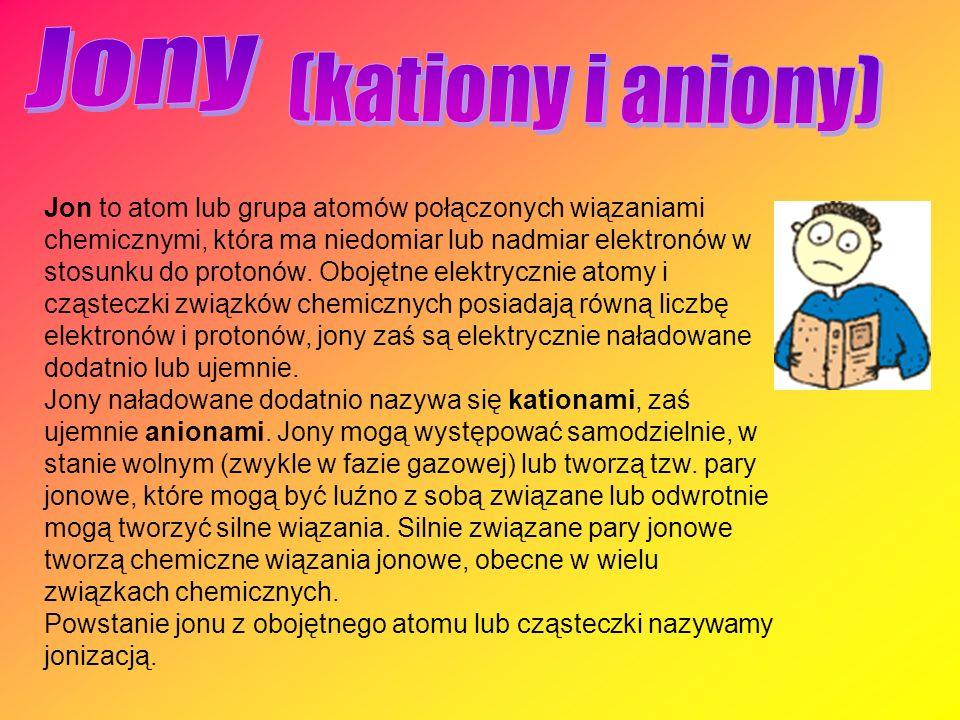 Jon to atom lub grupa atomów połączonych wiązaniami chemicznymi, która ma niedomiar lub nadmiar elektronów w stosunku do protonów. Obojętne elektryczn