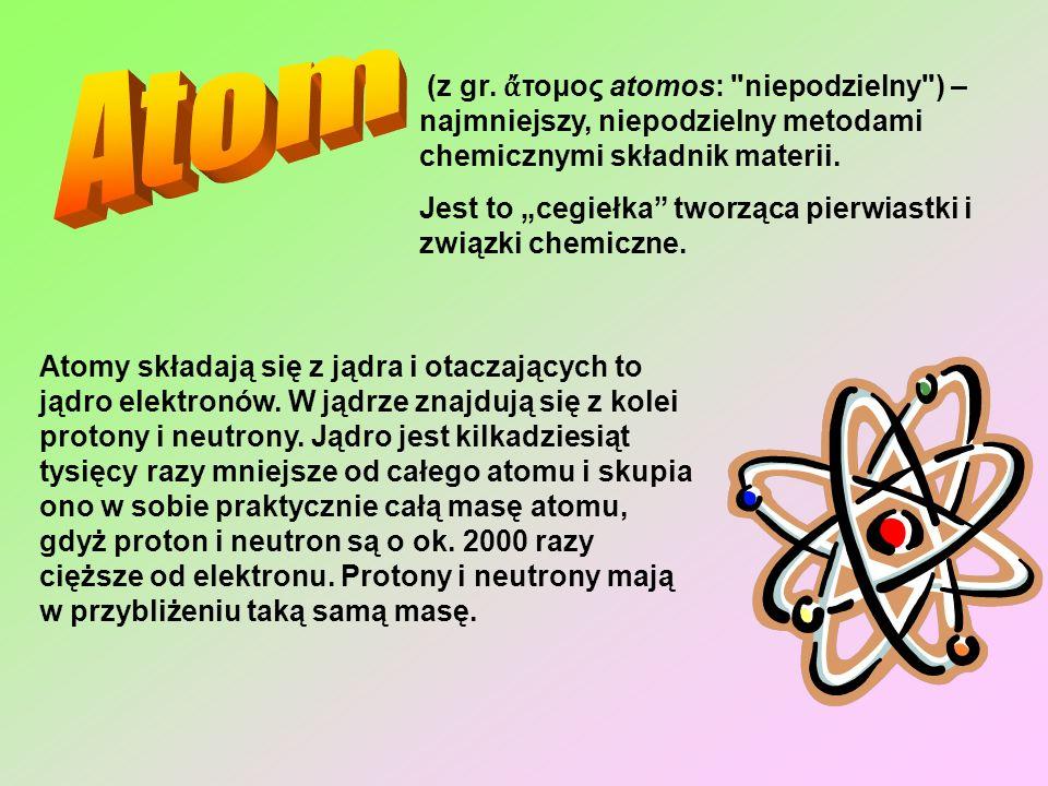 O właściwościach atomów decyduje głównie liczba protonów w jądrze atomowym, atomy o takiej samej liczbie protonów w jądrze należą do tego samego pierwiastka chemicznego.