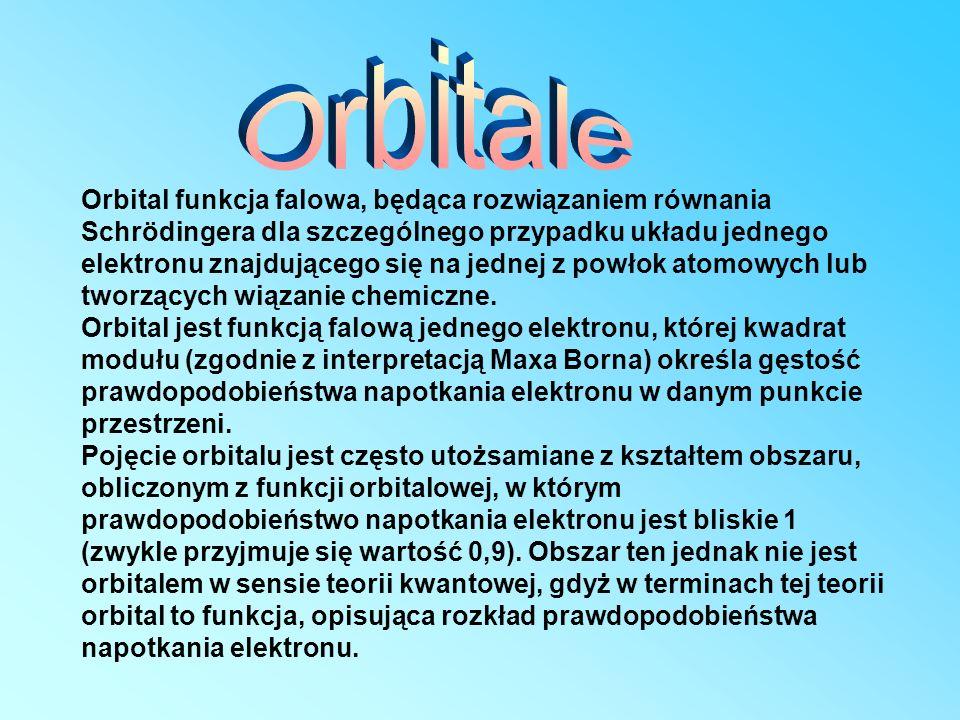 Orbital funkcja falowa, będąca rozwiązaniem równania Schrödingera dla szczególnego przypadku układu jednego elektronu znajdującego się na jednej z pow