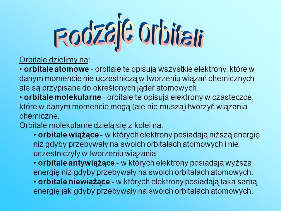 Orbitale dzielimy na: orbitale atomowe - orbitale te opisują wszystkie elektrony, które w danym momencie nie uczestniczą w tworzeniu wiązań chemicznyc