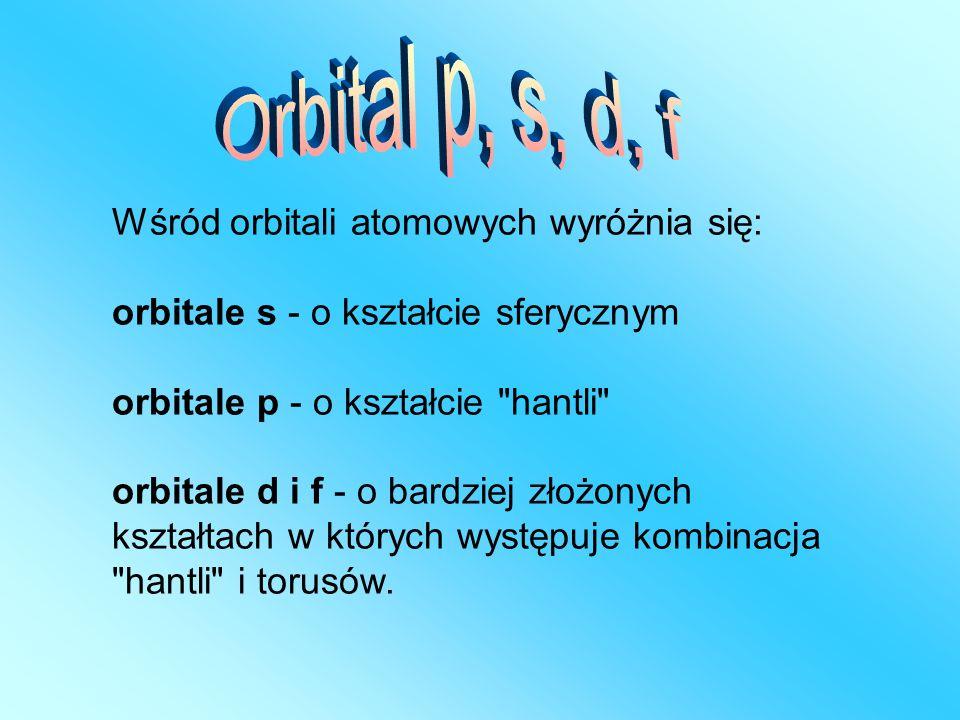 Wśród orbitali atomowych wyróżnia się: orbitale s - o kształcie sferycznym orbitale p - o kształcie