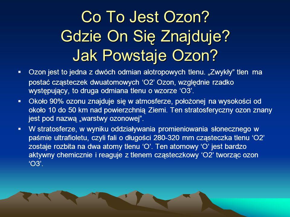 Przyczyny Powstawania Dziury Ozonowej Ozon stratosferyczny powstaje w wyniku oddziaływania promieniowania ultrafioletowego słońca z cząsteczkami atmosferycznego tlenu.