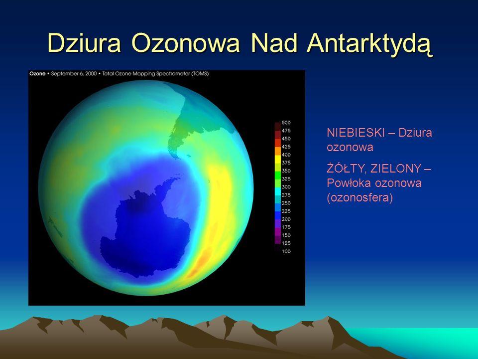Dziura Ozonowa Nad Antarktydą NIEBIESKI – Dziura ozonowa ŻÓŁTY, ZIELONY – Powłoka ozonowa (ozonosfera)