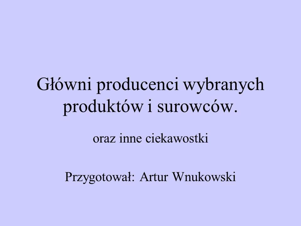 Główni producenci wybranych produktów i surowców. oraz inne ciekawostki Przygotował: Artur Wnukowski