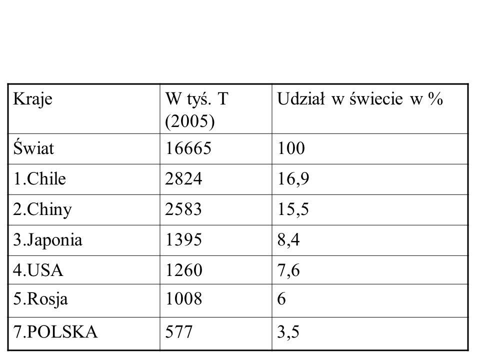 KrajeW tyś. T (2005) Udział w świecie w % Świat16665100 1.Chile282416,9 2.Chiny258315,5 3.Japonia13958,4 4.USA12607,6 5.Rosja10086 7.POLSKA5773,5