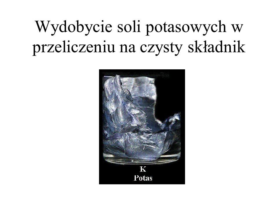 Wydobycie soli potasowych w przeliczeniu na czysty składnik