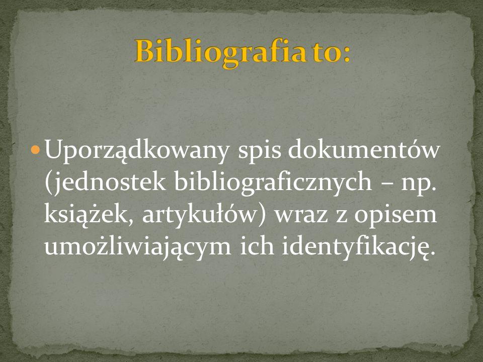 Uporządkowany spis dokumentów (jednostek bibliograficznych – np. książek, artykułów) wraz z opisem umożliwiającym ich identyfikację.