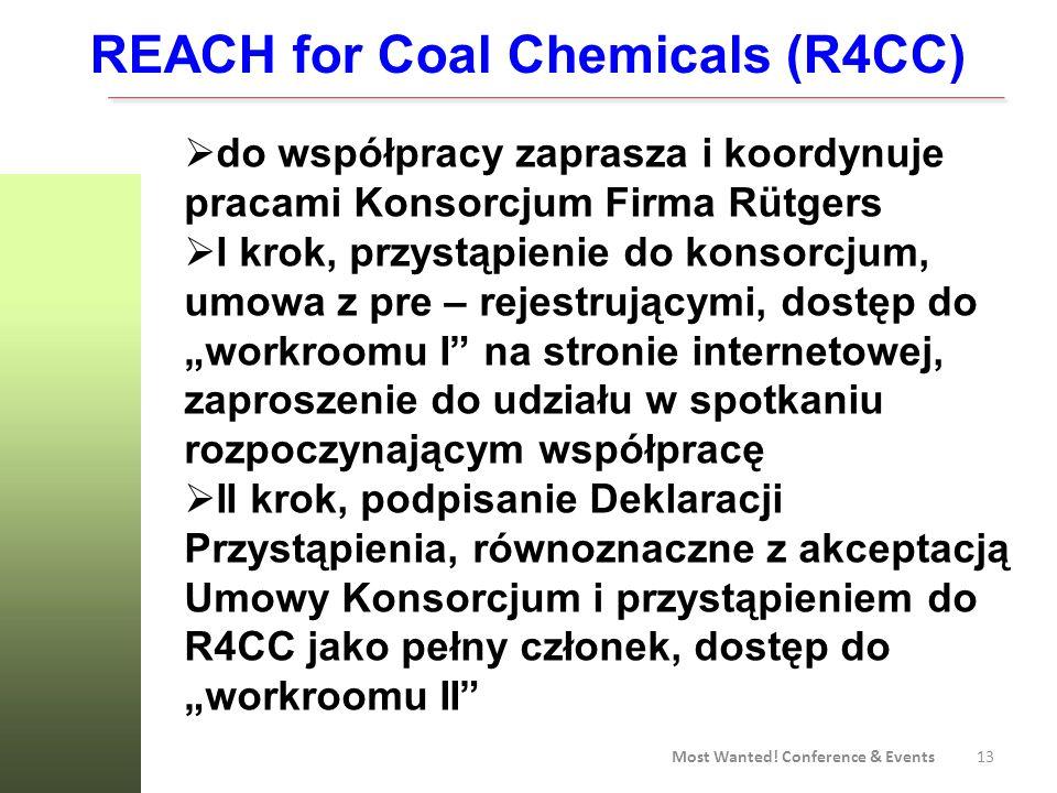 13 Most Wanted! Conference & Events REACH for Coal Chemicals (R4CC) do współpracy zaprasza i koordynuje pracami Konsorcjum Firma Rütgers I krok, przys