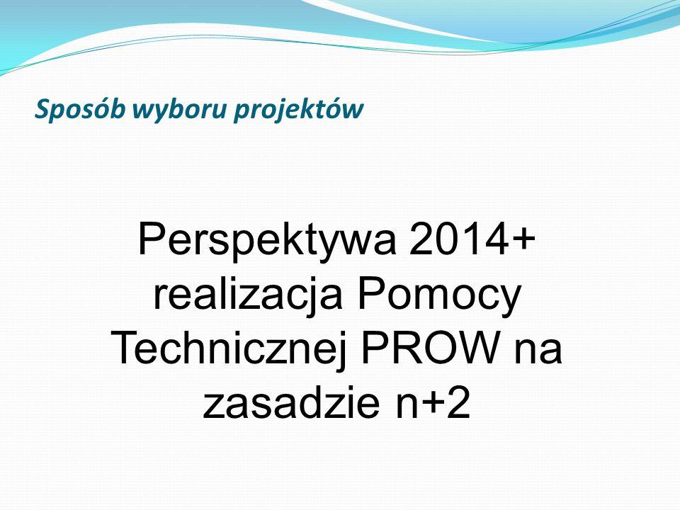 Sposób wyboru projektów Perspektywa 2014+ realizacja Pomocy Technicznej PROW na zasadzie n+2