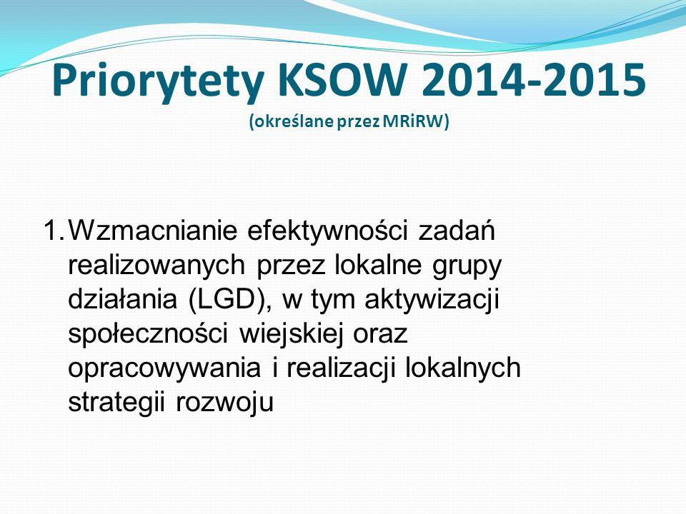 1.Wzmacnianie efektywności zadań realizowanych przez lokalne grupy działania (LGD), w tym aktywizacji społeczności wiejskiej oraz opracowywania i realizacji lokalnych strategii rozwoju Priorytety KSOW 2014-2015 (określane przez MRiRW)