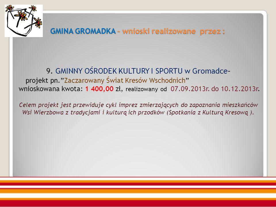 GMINA GROMADKA - wnioski realizowane przez : 9.