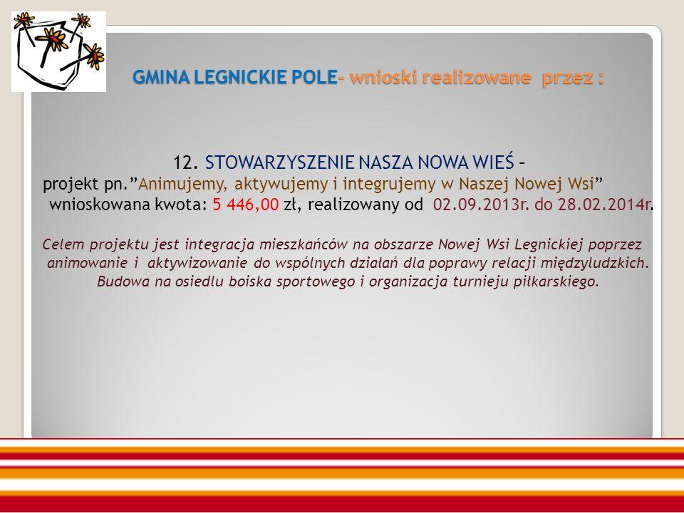 GMINA LEGNICKIE POLE- wnioski realizowane przez : 12.