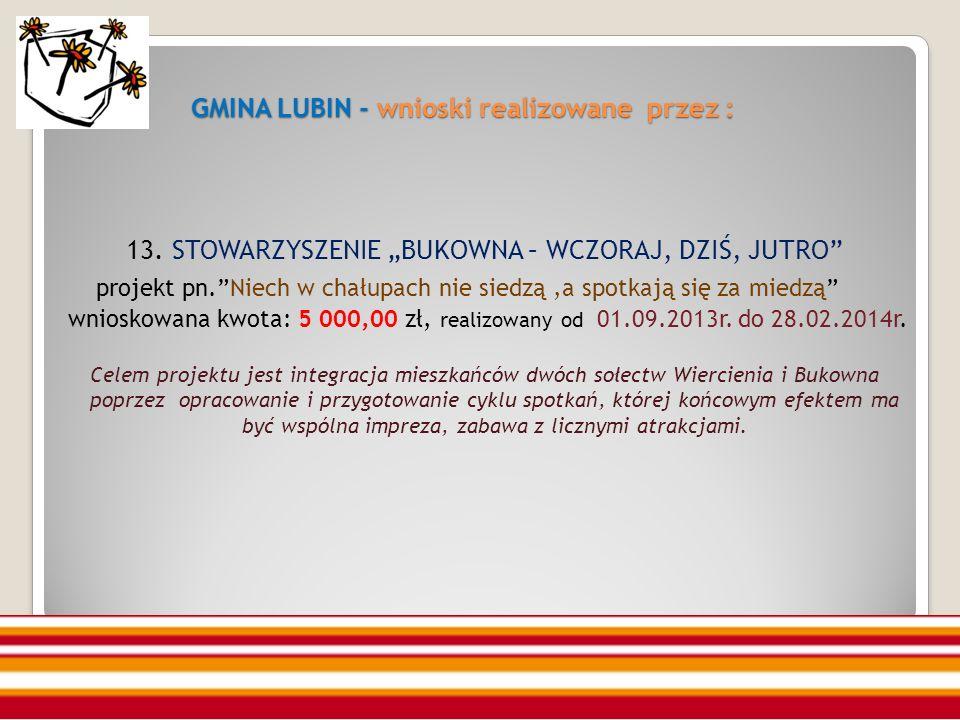 GMINA LUBIN - wnioski realizowane przez : GMINA LUBIN - wnioski realizowane przez : 13.
