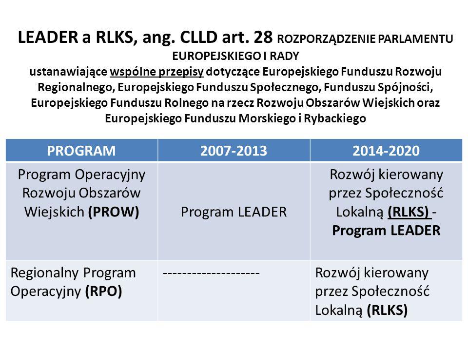 Podstawy wdrażania RLKS na poziomi e UE LEADER a RLKS, ang. CLLD art. 28 ROZPORZĄDZENIE PARLAMENTU EUROPEJSKIEGO I RADY ustanawiające wspólne przepisy
